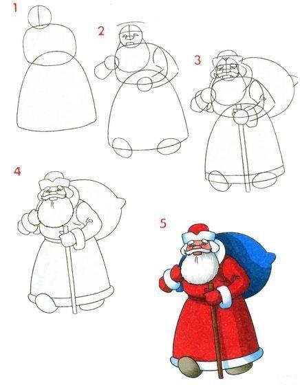 Como dibujar a papa noel realizando sencillas manulidades para niños