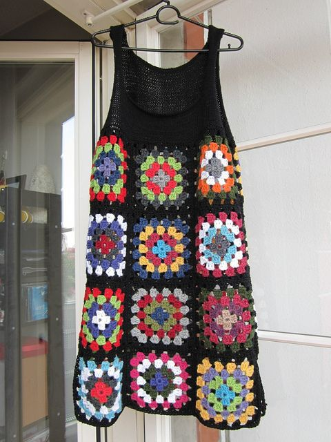 Crochet Granny Square Dress Idea...not a fan of the colors on this one, but the idea could be cool in the right palette.