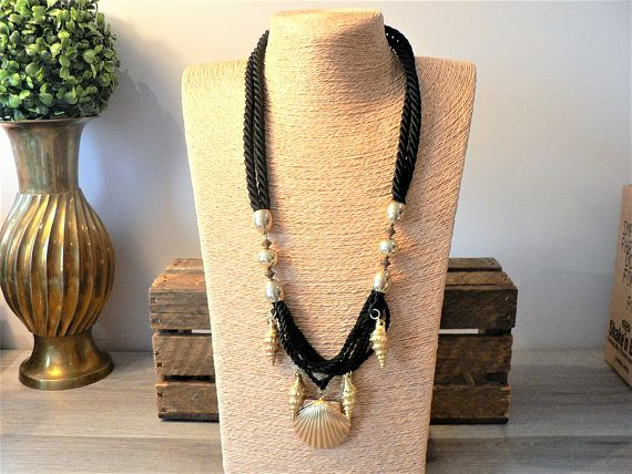 Vintage 90's Black Rope Necklace with Gold Metal Shell