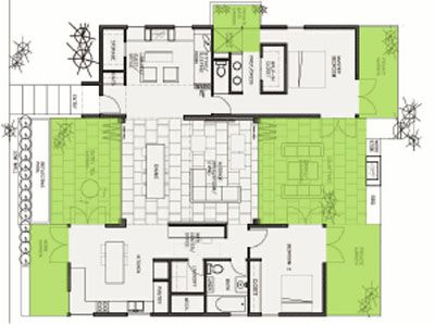 The Breezehouse concept revolves around every major room having a private  garden. It's designed to