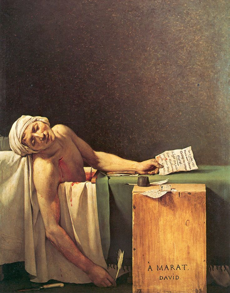"Jacques Louis David. Painting of Marat, who was murdered, an extremist in ""The Terror"" when Robespierre took over the revoltuion. His writings were published in a newspaper, supporting extreme violence as a means of acheiving ""justice"". David himself was involved with Robespierre."