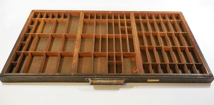 Vtg Hamilton Wooden Typeset Printing Block Letter Press Shadow Box Drawer Tray #Hamilton #Vintage #Hamilton