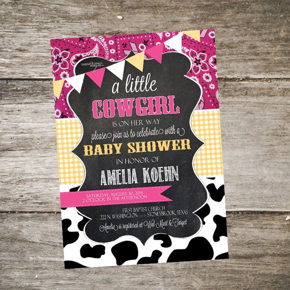 Western Baby Shower Invitation. Bandana Baby by SabraTurnerDesigns