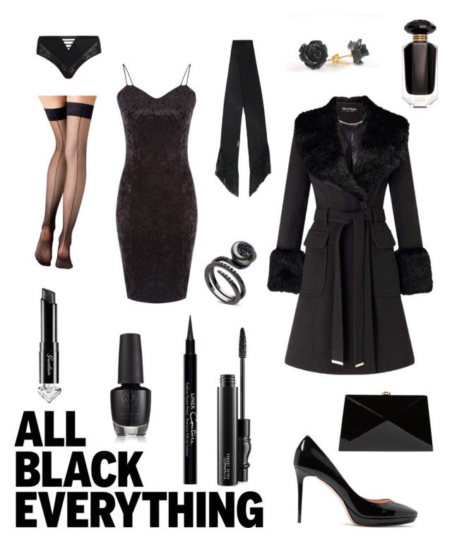 """contest: all black!"" by dtlpinn on Polyvore featuring Givenchy, MAC Cosmetics, Guerlain, Fogal, Jimmy Choo, Rocio, Miss Selfridge, Rockins, Déesse and Victoria's Secret"