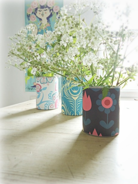 tin can vases - with treasures from the hedgerow