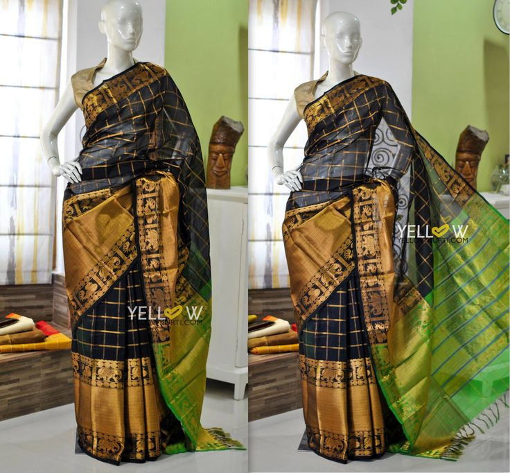 Traditional Kanchi antique design in Kuppadam silk with allover antique golden checks.Blouse - Green blouse material as in Pallu Kindly write to us at teamyellow@yellowkurti.com  for Orders !  05 March 2017