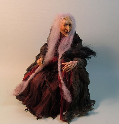 Helen Hartzell's Witch Doll w Raven OOAK 1 12 Halloween Haunted Polymer Sculpt | eBay