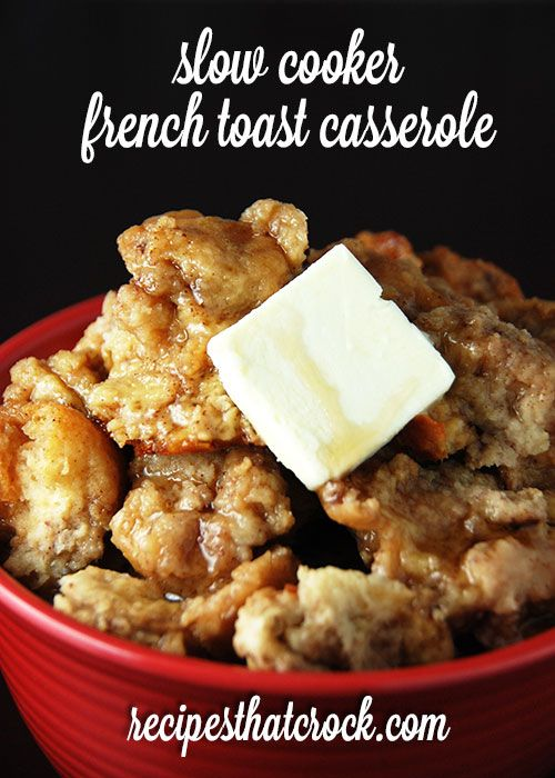 Slow Cooker French Toast Casserole. LOVE this crock pot recipe for breakfast OR dessert- yum! #CrockPot