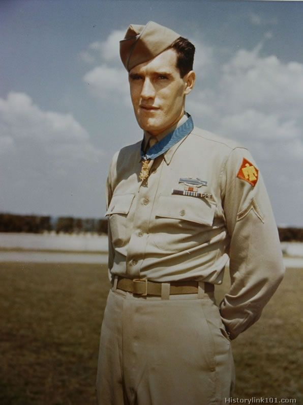 Medal of Honor recipient. He was awarded the medal for gallantry at Anzio while a machine gunner with the 45th Infantry Division.