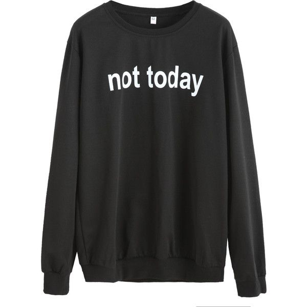 Trend SheIn sheinside Black Letters Print Sweatshirt via Polyvore featuring tops