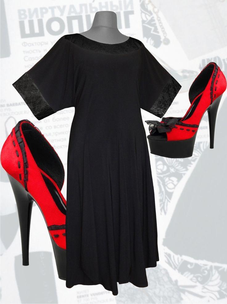 47$ Платье свободного покроя с рукавами летучая мышь для полных женщин и юбкой с хвостиками чёрное с черными манжетами Артикул 585, р50-64