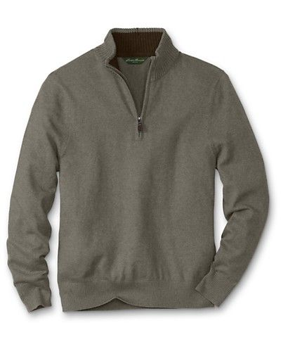 Sportsman Cotton/Cashmere Quarter zip. Beet, Black, Heather Green. Medium/Large