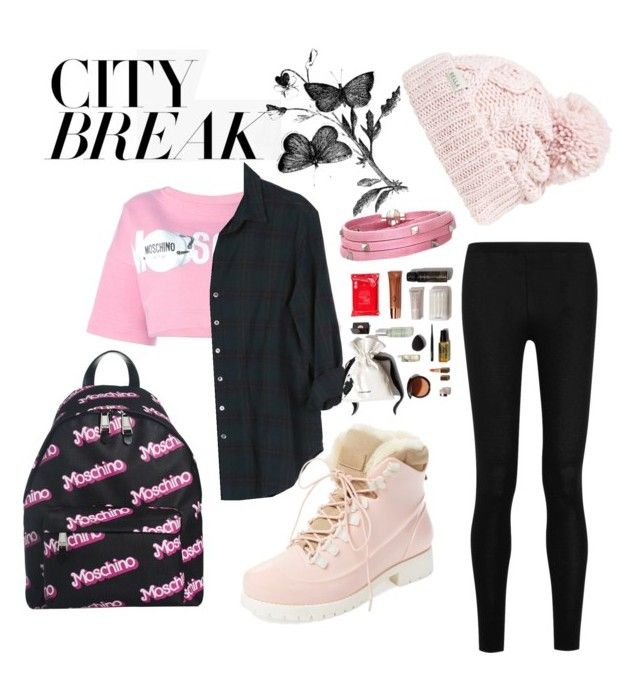 """""""City break : mix and match between pink and black"""" by aninditaarr on Polyvore featuring Moschino, Donna Karan, Xirena, Rella, Sif Jakobs Jewellery and Australia Luxe Collective"""