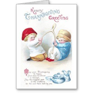 Kids Tug on Giant Wishbone Vintage Thanksgiving Greeting Cards