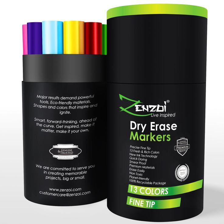 Dry Erase Markers Whiteboard Erasable Marker Pens Set - Fine Tip -13 Bold Colors