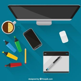 Realistic graphic designer tools in top view