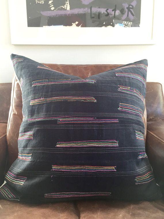 Hmong Textile Pillow Cover Vintage Ethnic by HomeGirlCollection