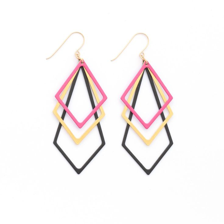 Excited to share the latest addition to my #etsy shop: Festival Earrings, Funky Earrings, Urban Jewelry, Art Deco Earrings, Black-Gold-Pink Earrings, Chandelier earrings, Elegant Modern Earrings http://etsy.me/2znzcEA #jewelry #earrings #earlobe #artdeco #earwire #girls #otherpol