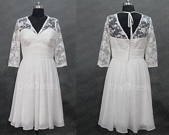Chiffon Skirt Lace Bodice Beach Wedding Dresses,V-neck ...