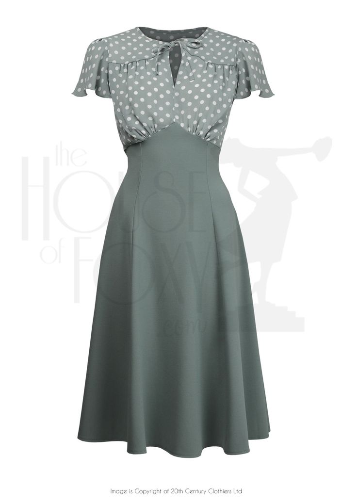 1940s Grable Tea Dance Dress in Sage Green Polka Dot