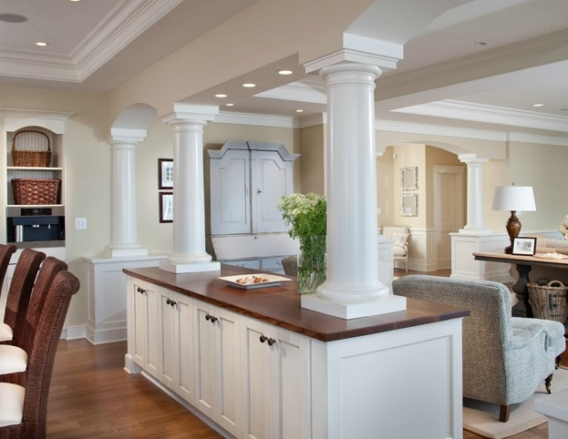 Partial Wall Cabinets But Without The Weird Pillars Like A Wood Marble Countertop Idea With Matching Door Pulls