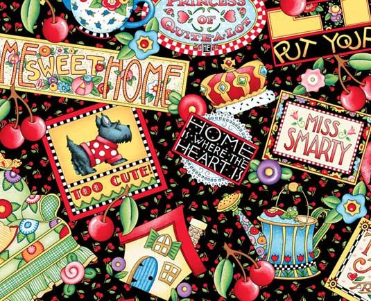 Mary Engelbreit Clip Art Free/Welcome | Mary Engelbreit fabric - Mottos sweet home scottie Couch Cherries ...