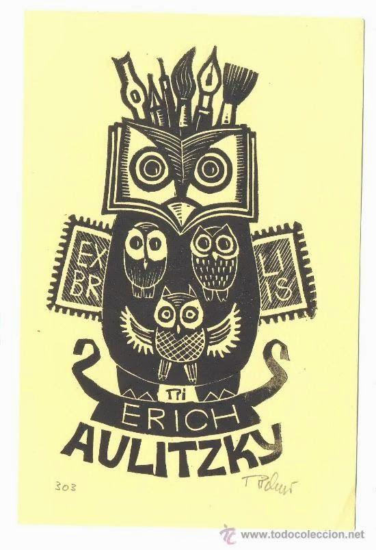 EX libris by E. aulitzky OP 105 T.D. N. x 6 Erotic