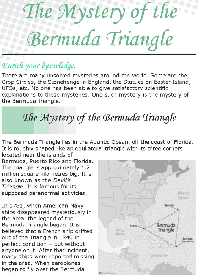 small essay on bermuda triangle The bermuda triangle is the area extending between bermuda, puerto rico, and  miami, famous for its high volume of shipwrecks the area's.