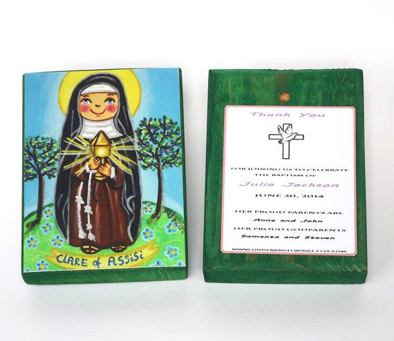 St Clare of Assisi Wood block print Claire Saint Clare print on wood Baptism favors girls Art block Christening favors First communion favor