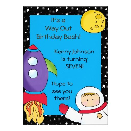 Way Out Space Birthday Invitations
