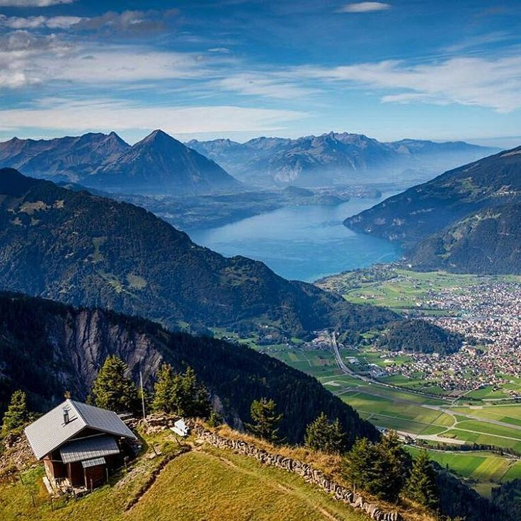 Lovely view on the lake Thun and Interlaken.