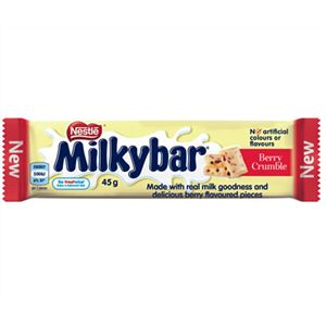 A bulk box of 36 bars of Milky Bar Berry Crumble.