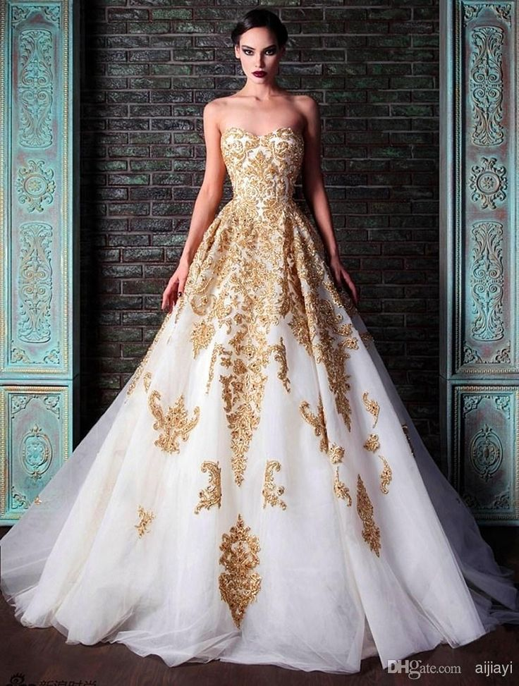 Hot ! 2014 New Evening Dresses Rami Kadi Sweetheart Golden Appliques Beaded Crystal Accented White A-Line Formal Prom Dresses New Fashion