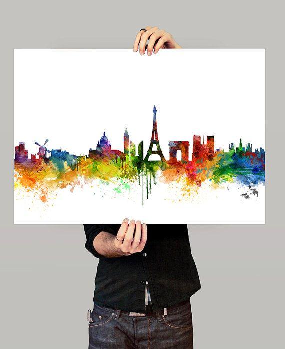 Paris Skyline Watercolor Print, Paris France Cityscape Art Print, Watercolor Skyline (73)