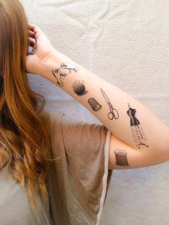 6 Sewing Temporary Tattoos SmashTat van SmashTat op Etsy