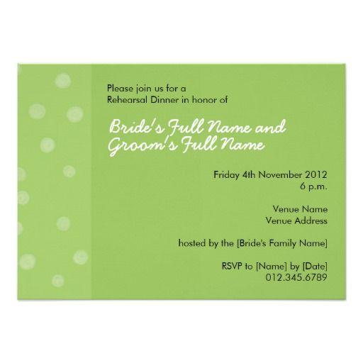 Invitation verte peinte de dîner de répétition de