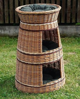 #Wicker #willow round 3 tier bunk baskets bed for pet cat kitten dog with #cushio,  View more on the LINK: 	http://www.zeppy.io/product/gb/2/251584542744/