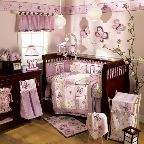 butterfly nursery theme for a baby girl i think the tree is very creative - Cute Baby Girl Room Themes