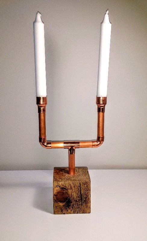 Copper pipe & pallet block candelabra   Upcycled pallet wood block, wax finished and 15mm copper pipe candelabra with 2 candle holders   Candles not included, display only) £22.95 + delivery   Upcycled Candelabra   #UpcycledCandelabra