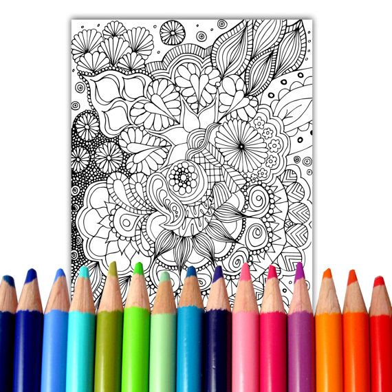 Adult Coloring Page Instant Download  Zentangle by SeraphymArt