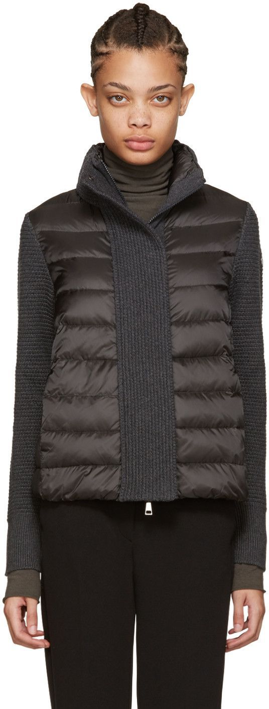 Long sleeve quilted down jacket in grey. Knit panelling throughout. Stand…