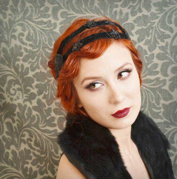 flapper headband, 1920s hair accessory, black velvet head piece - imogen | Flickr - Photo Sharing!
