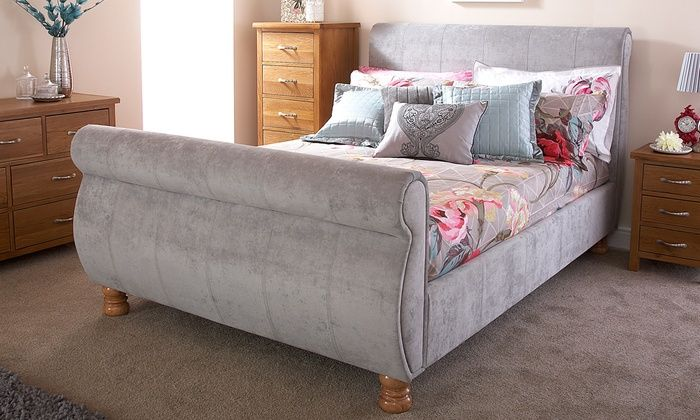 Groupon Goods Global GmbH: Sleigh Bed Frame in Fabric or Faux Leather with Option to Include Mattress With Free Delivery