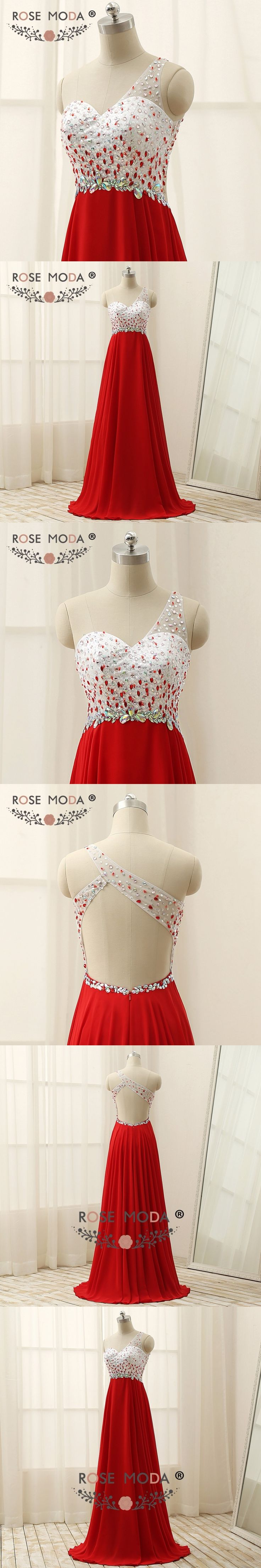 Rose Moda One Shoulder Red Prom Dress Floor Length Cut Out Back Crystal Prom Dresses Xmas Party Dress 2018