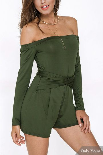 0b5da13e5c1f Army Green Off The Shoulder Long Sleeves Playsuit with Lace-up Design -  US 19.95 -YOINS