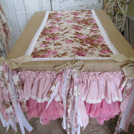 Tablecloth Runner Burlap And Pink Salvaged Fabric Tattered Muslin Shabby  Chic Cottage Ruffles Lace Linen Home Decor By Anita Spero