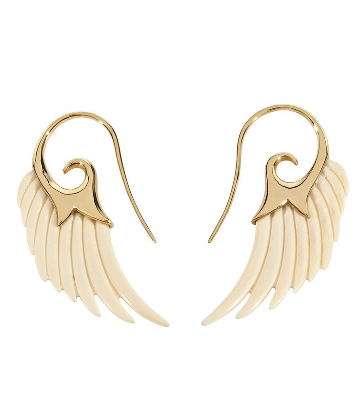 Noor Fares Wing Earrings Wing earrings in mammoth and yellow gold.