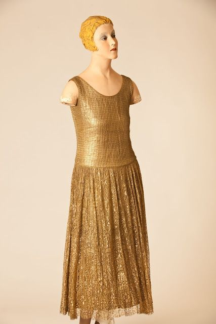 Gold lattice work and lace dress by Paul Poiret, 1925