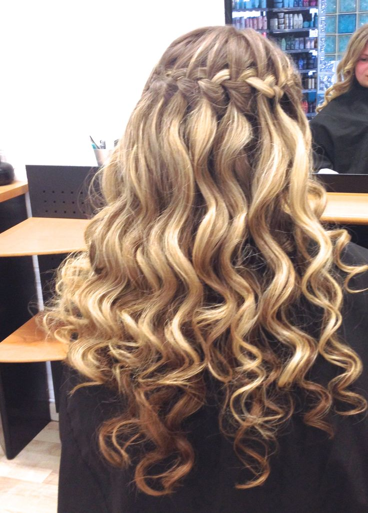 waterfallbraid blonde waves ombre highlights girl long hair curls