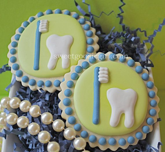 Tooth and Toothbrush Decorated Sugar Cookies 12 by sweetgoosiegirl, $33.00